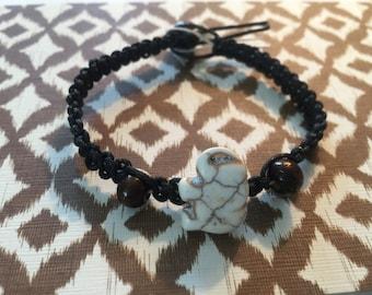 Elephant stone bracelet on hemp.