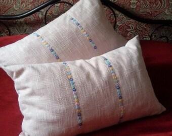 Pink linen look cushion