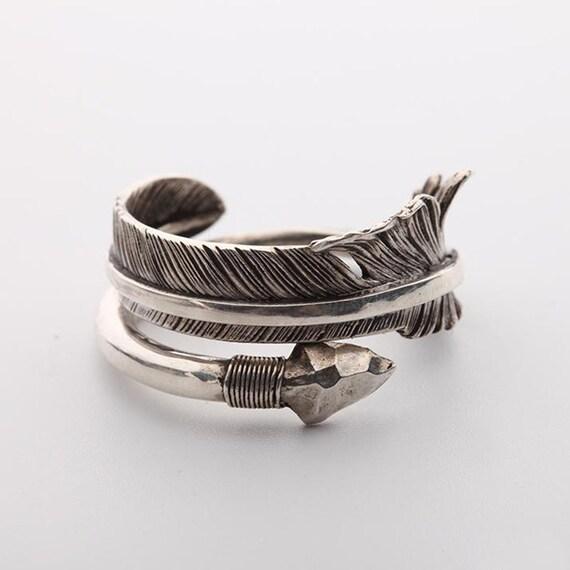 Arrow ring arrow jewelry 925 sterling silver tribal ring for Jewelry storm arrow ring