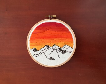 5 inch mountains and sunset hoop art