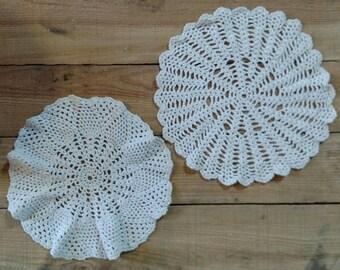 Set of 2 White Vintage Doilies