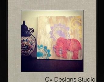Paisley Elephant String Art