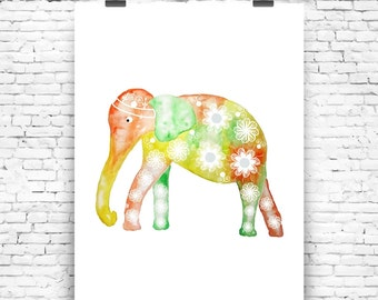 Art Print Flower Elephant