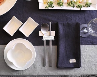 Stone Washed Linen Cloth Napkins [ Set of 4 ] Large Dinner Napkins, Table Napkins, Gray Napkins, White Napkins, Birthday Decor, Party Decor