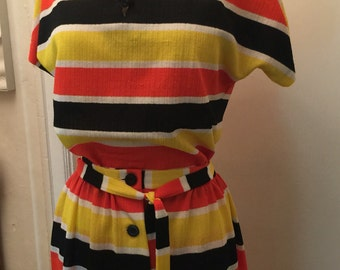 Alex Colman California 2pc. Candy corn horizontal striped A-line buttonup skirt and top