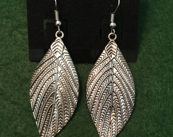Silver Leaf teardrop earrings