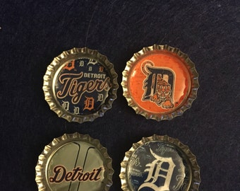 Detroit Tigers Bottle Cap Magnets - Set of 4