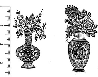 Oriental Vases - 2 Unmounted Rubber Stamps