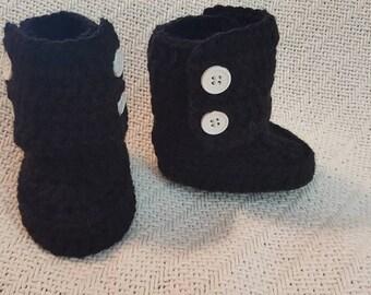 Black Crochet Button Boots size 3mo