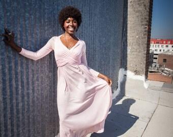 Pink 1970s Vintage Floorlength Longsleeved Disco Dress with Ruching