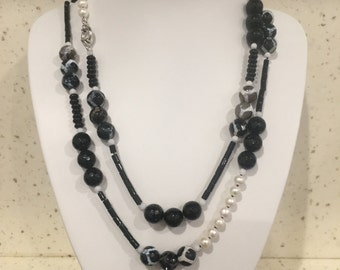 Faceted Black Agate & Freshwater Pearl Long Necklace