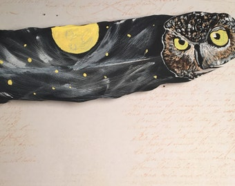 Owl Painting, Feather Painting, Great Horned Owl Painting, Bird Painting, Painting on feather, Real Feather