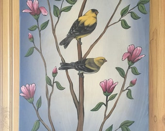 14x18 Acrylic Paint Gold Finch Canvas