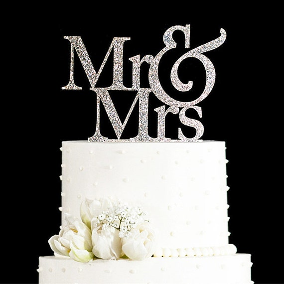 Items similar to glitter golden silver mr and mrs cake for Aana decoration wedding accessories