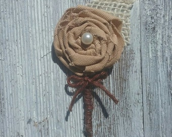 Rustic Wedding Boutonniere, Groom's Flower, Rose Boutonniere