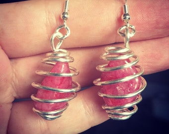 Pink Stone Wrapped Earrings