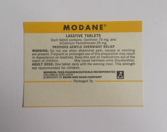 Antique Pharmacy Label - Modane Laxative Apothecary Label  ***Free Shipping***