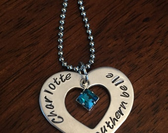 """personalized hand stamped """"southern belle"""" necklace, birthstone necklace, heart shaped necklace"""