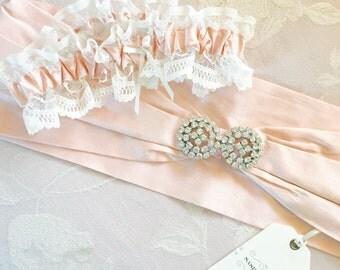 Ophelia Silk Bridal Sash + Garter Set - Wedding Accessories - Bridal Lingerie - Wedding Set - Bridal Set