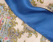 VINTAGE LIBERTY SCARF..Liberty of London English Made silk..blue border..pink grey paisley pattern..large square..headscarf..