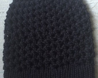 Black Knit Slouchy Beanie
