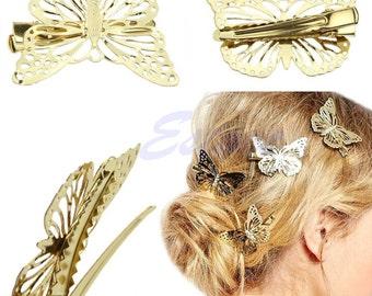 Cute Hair Shiny Golden Butterfly Hair Clip