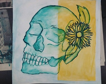 Skull and Flower Watercolor Painting