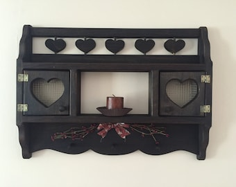 Ebony stained pine wall decorative cabinent