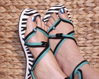 Sandals - creative set in zebra for women - individual fashion