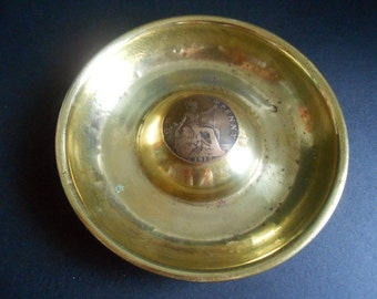 WW1 Trench Art Brass Ashtray With 1912 Penny