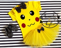 Pikachu Tutu Outfit - Baby Girl Pikachu Pokemon Inspired Shirt Coming Home Outfit - Halloween Costume -1st Birthday Set 0-3 M to 4 Years