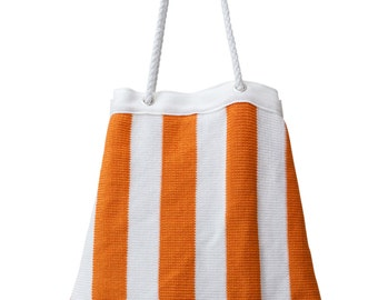 Hand Made Knitted Cotton Beach Bag - Drawstring - Lobster