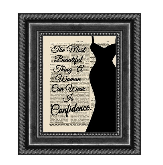 The Most Beautiful Thing A Woman Can Wear Is Confidence Quote on Vintage Dictionary Page, Dorm Decor, Inspirational Art, Office Print