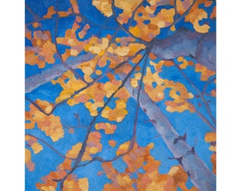 "Fall Aspens Art ~ Aspen Trees Art Print ~ ""Sky of Gold"" ~ Autumn Aspens Print ~ Colorado Aspen Art ~ Aspen Painting Reproduction"