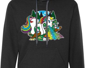 puking unicorn hood