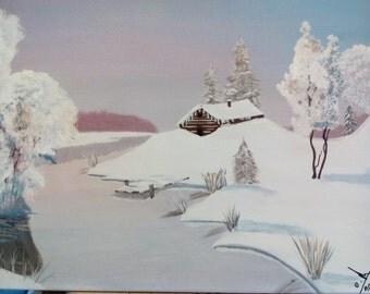 Chalet under snow
