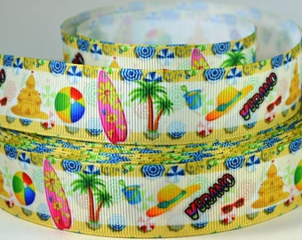 "1"" Summer, Beach Ball, Sand Castle, Palm Tree, Surf Board - Print Grosgrain Ribbon"