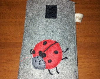 Gray smartphone case with Ladybird