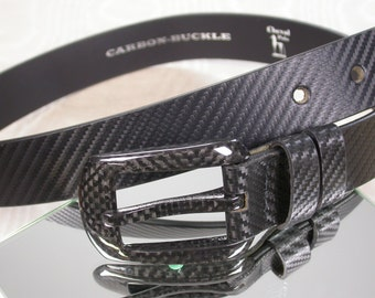 Carbon - leather belt buckle leather belt