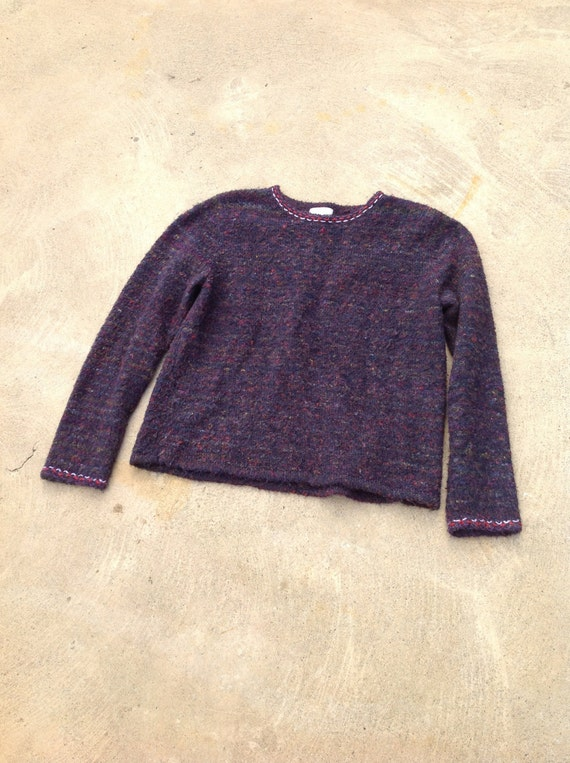 Vintage 90s Sweater Fuzzy Purple Multicolor Threading // Size Medium // Grunge // Cobain // Hand embroidered