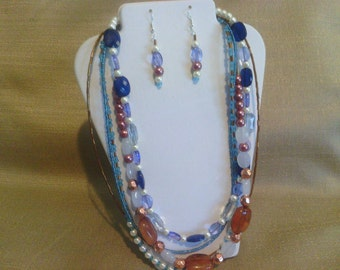 275 Bright Modern Multi-strand, Multi-colored Beaded Glass Statement Necklace