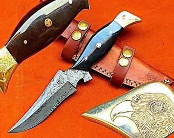 Custom hand made damascus steel dagger standing knife with engrave eye work & bull horn handle