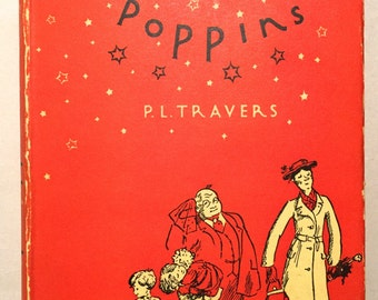 Mary Poppins - P.L. Travers & illustrated by Mary Shepard (1934 Hardcover with Dust Jacket) circa 1943-52 publication, Children's Books