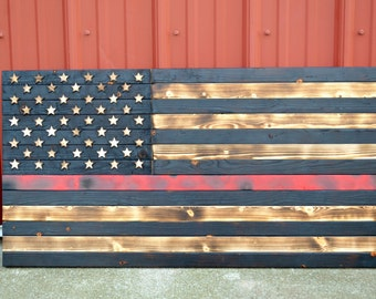Thin Red Line Wooden Flag, Firefighter Flag, Thin Red Line, Firefighter, Charred, Burnt, Wooden Flag, United States Flag, US Flag, Red Line