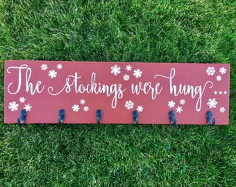 "The Stockings Were Hung Wooden Christmas Stocking Holder Sign/26""/Rustic Red/Stockings Holder/Stocking Hanger/Christmas Stockings/Christmas"