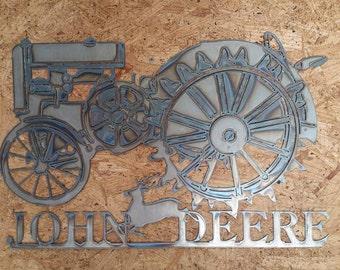 """Metal CNC 16"""" x 24"""" John Deere Tractor Sign"""