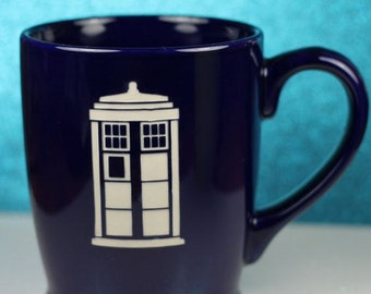 FREE SHIPPING Personalized Tardis Doctor Who Inspired coffee mug