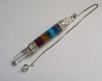 7 Chakra Crystal Dowsing Pendulum, 7 Chakra Crystal Dowsing Pendant