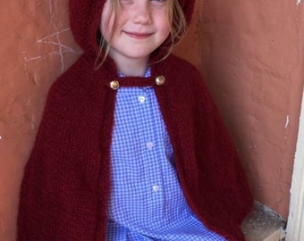 Red Girls Cape Poncho