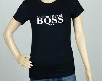 """T-shirt woman black waisted size """"No BOSS"""" size: L"""